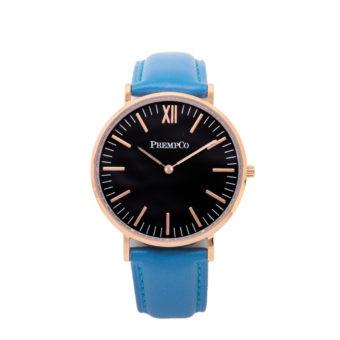prempco damen designer uhr nobel uhr schwarz blau mit lederarmband