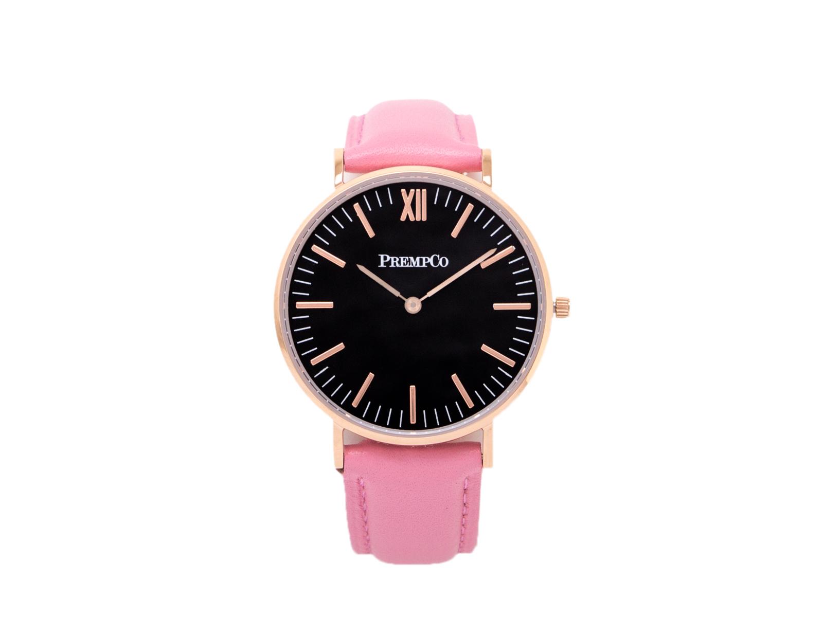 prempco damen designer uhr nobel uhr schwarz pink mit lederarmband