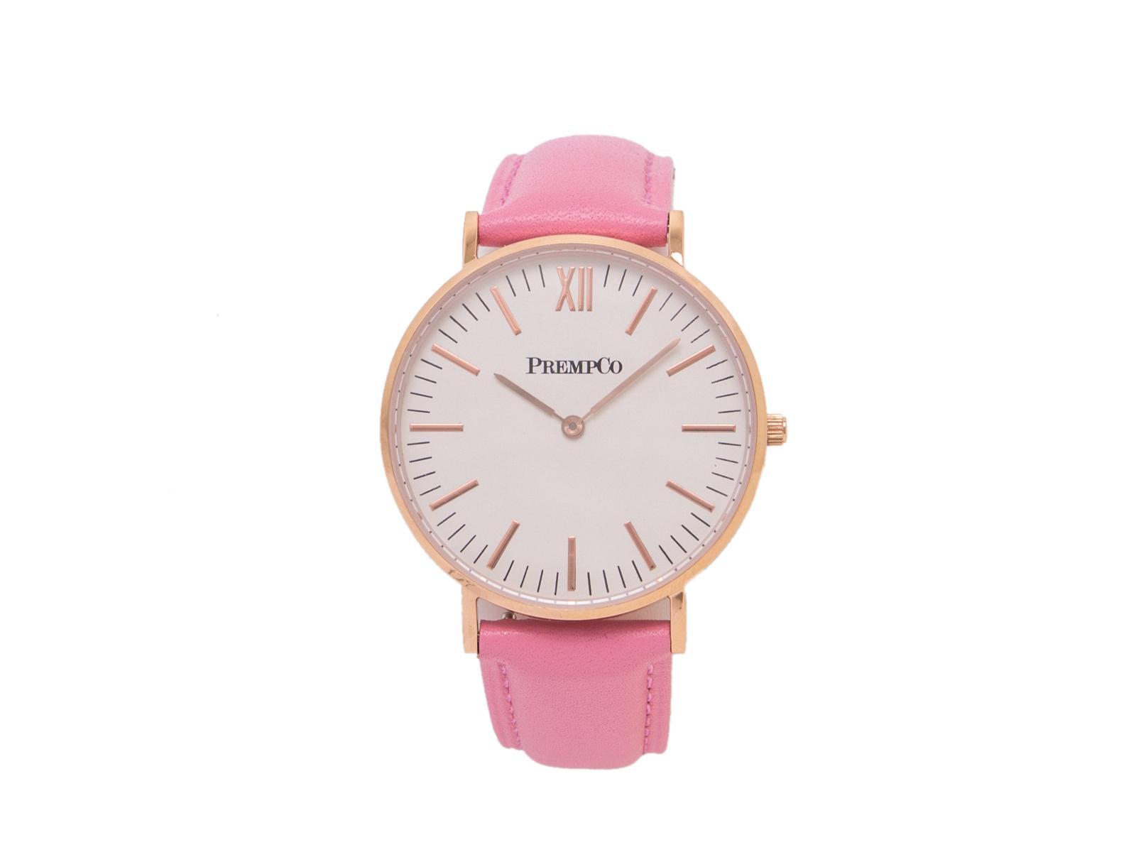 prempco damen designer uhr nobel uhr weiß pink mit lederarmband